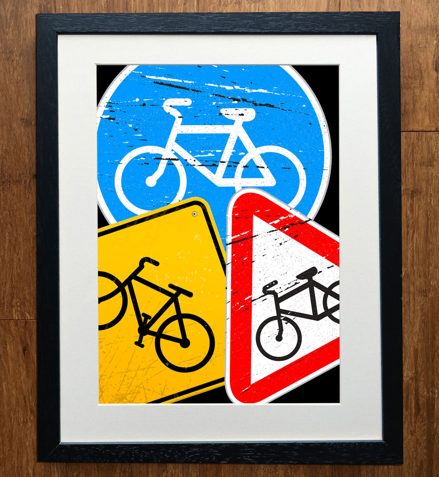 Cycling Road Signs Grunge Art Print