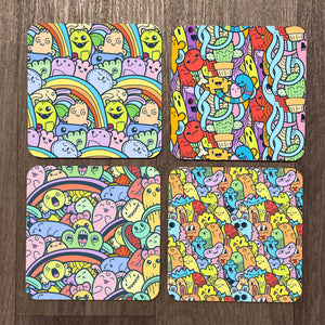 Doodle Monsters Coaster Set
