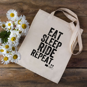 Eat Sleep Ride Repeat Cycling Tote Bag
