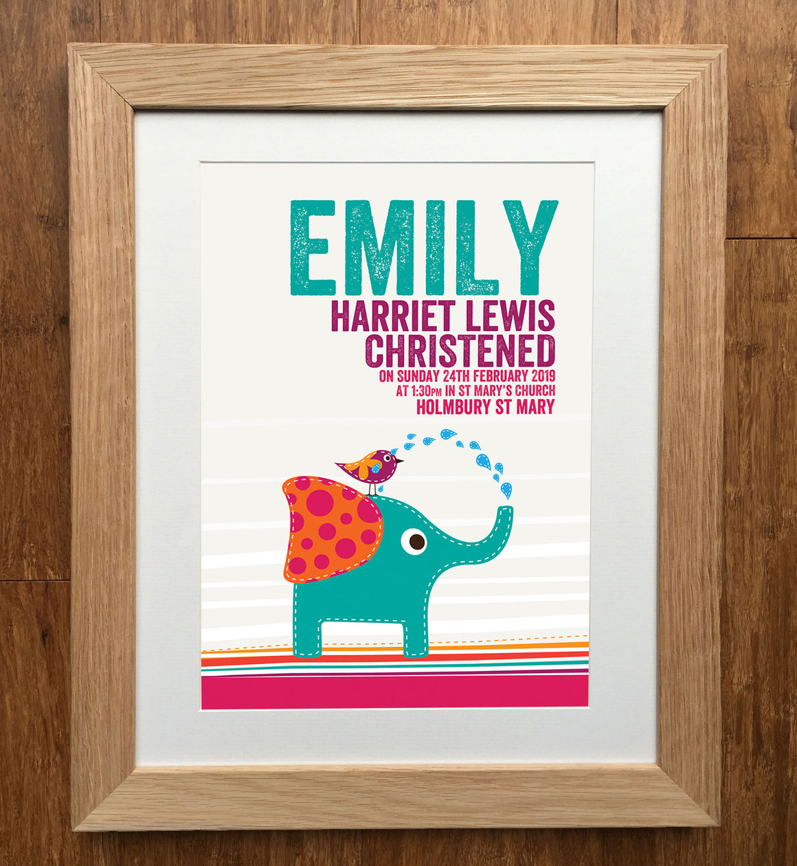 Elephant & Bird Personalised Christening Print