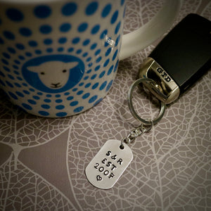 Hand Stamped Est. Year Initials Personalised Keyring