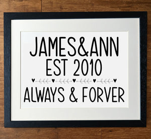 Always And Forever Established Personalised Print