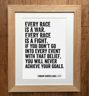 Fabian Cancellara Every Race Is War Cycling Print