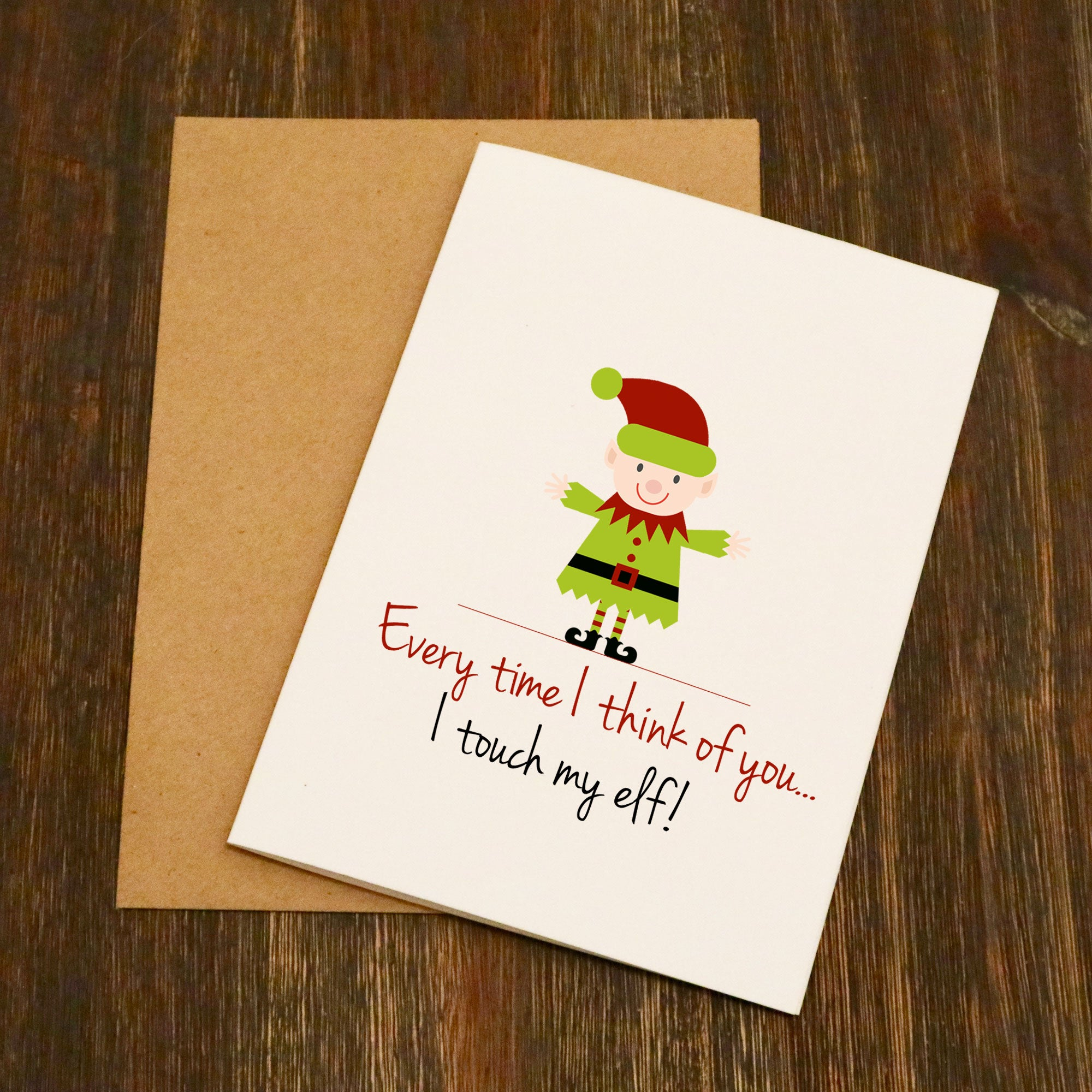 Everytime I Think Of You I Touch My Elf Christmas Card Elliebeanprints
