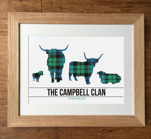 Campbell Clan Tartan Highland Cows Personalised Family Print
