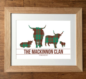 Mackinnon Clan Tartan Highland Cows Personalised Family Print
