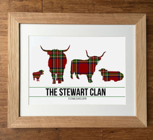 Stewart Clan Tartan Highland Cows Personalised Family Print