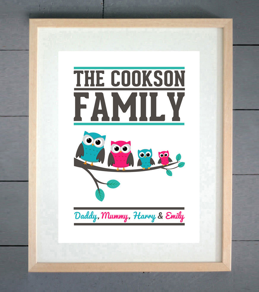 Personalised Owl Family Print