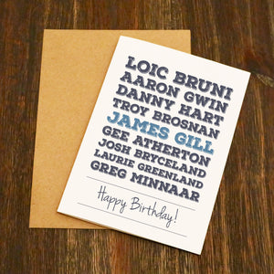 Famous Male Mountain Bikers - Birthday Card