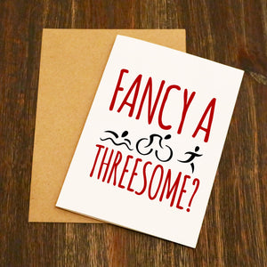 Fancy A Threesome? Triathlon Valentine's Card