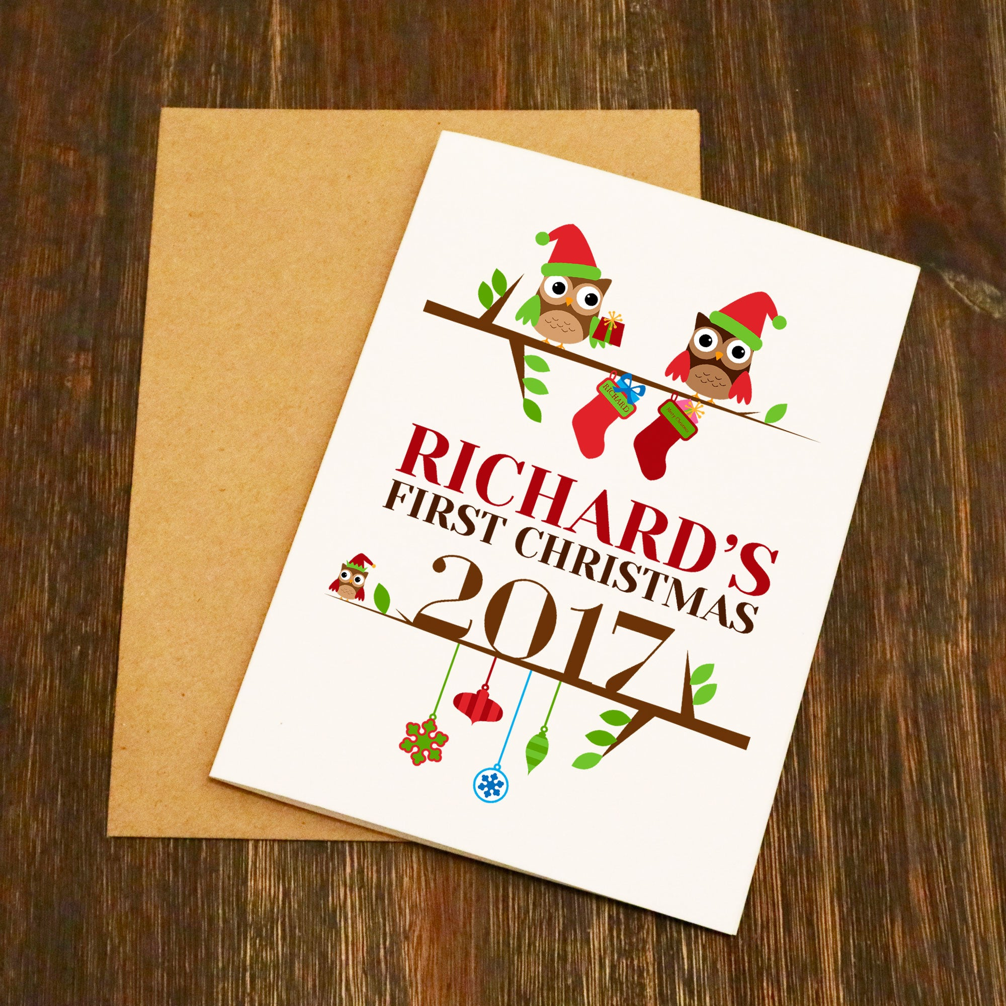 First Christmas Card.Baby S First Personalised Christmas Card Owls