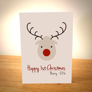 Cute Reindeer Personalised First Christmas Card