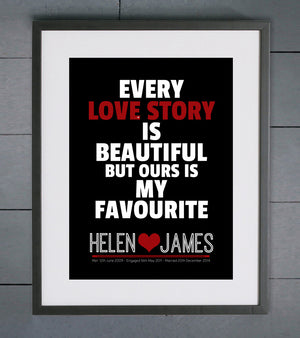 Every Love Story Personalised Wedding Print