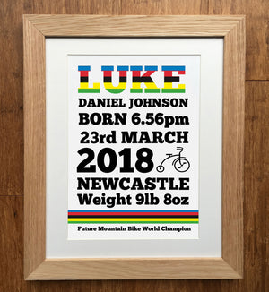 Future Cycling World Champion Personalised Birth Details Print