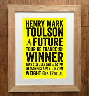 Future Tour De France Winner Personalised Birth Details Print