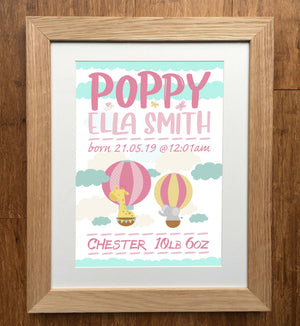 Hot Air Balloons & The Zoo Personalised Birth Details Print