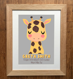 Giraffe Friend Wild Animal Personalised Birth Details Print
