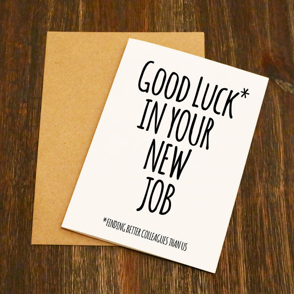 good luck in your new job funny leaving card  elliebeanprints