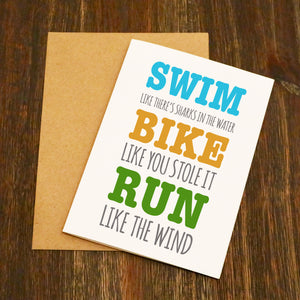 Swim, Bike, Run Triathlon Card