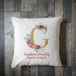 Personalised Grandma Is Loved By Cushion Cover - Roses