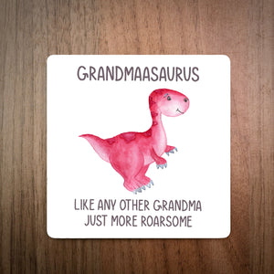 Personalised Best Grandmaasaurus Coaster