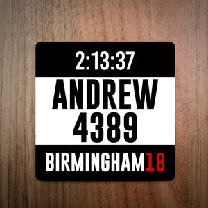 Personalised Great Birmingham Run Bib Coaster