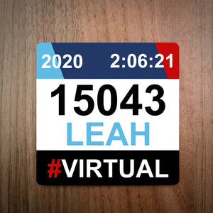 Personalised Virtual Run Race Bib Coaster