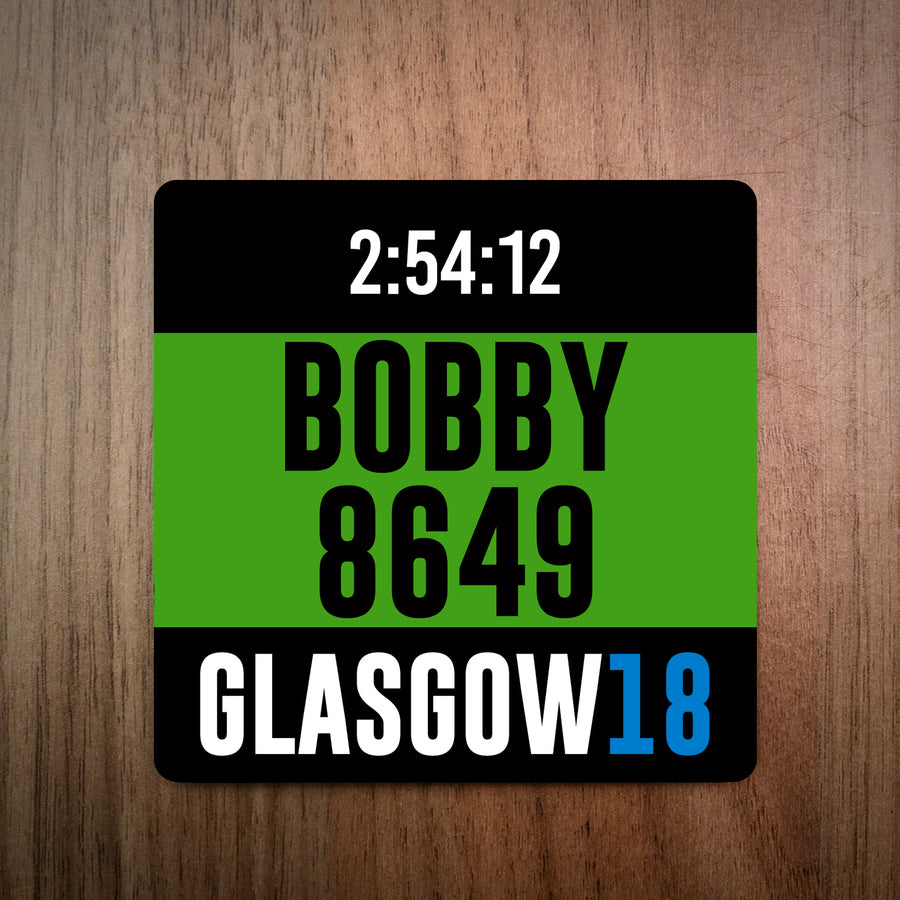 Personalised Great Scottish Run Bib Coaster