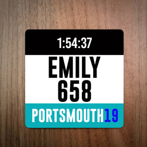 Personalised Portsmouth Half Marathon Race Bib Coaster