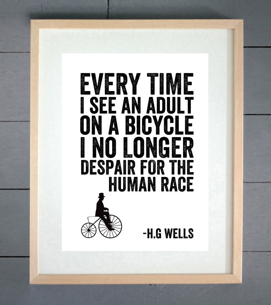 H.G Wells Human Race Cycling Print