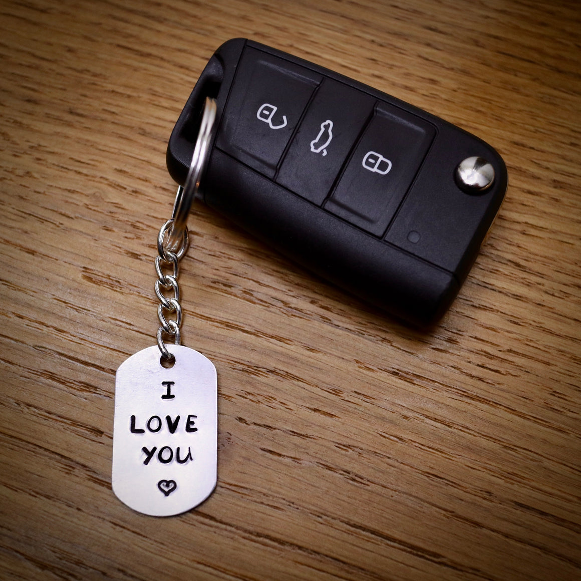 Hand Stamped I Love You Keyring