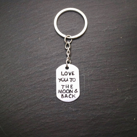 Hand Stamped Love You To The Moon & Back Keyring