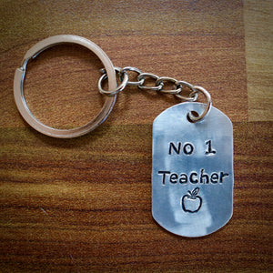 Hand Stamped Number One Teacher Keyring
