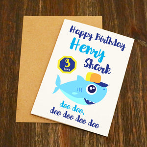 Personalised Baby Shark Doo Doo Doo Birthday Card (Blue)
