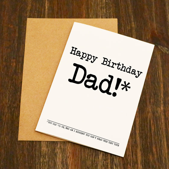 Happy Birthday You Old *?$! Tiny Type Birthday Card