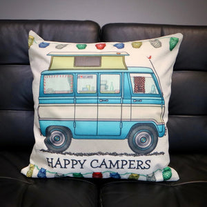 Happy Campers Pop Top Camper Van Cushion Cover