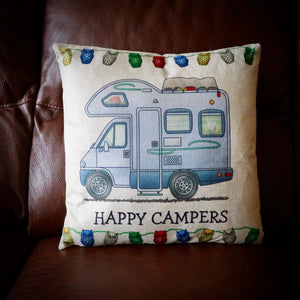 Happy Campers Camper Van Cushion Cover