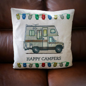 Happy Campers Retro Camper Van Cushion Cover