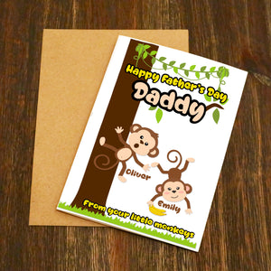 Personalised Happy Father's Day From Your Little Monkeys Card