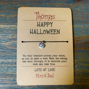 Happy Halloween Wish Bracelet & Personalised Postcard