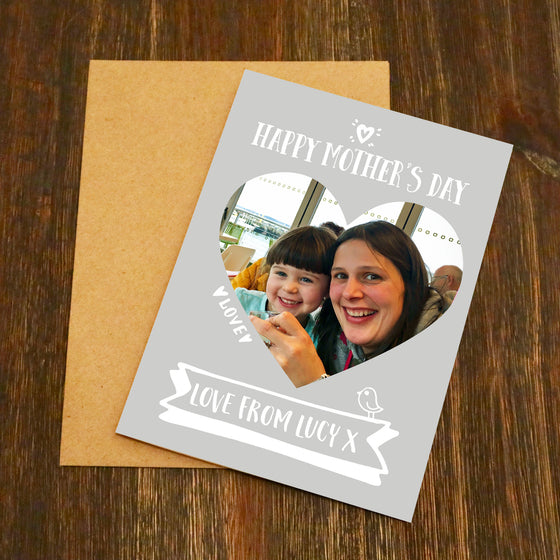 Happy Mother's Day Personalised Heart Photo Card