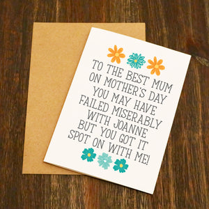 You Failed Miserably With My Sibling Mother's Day Card