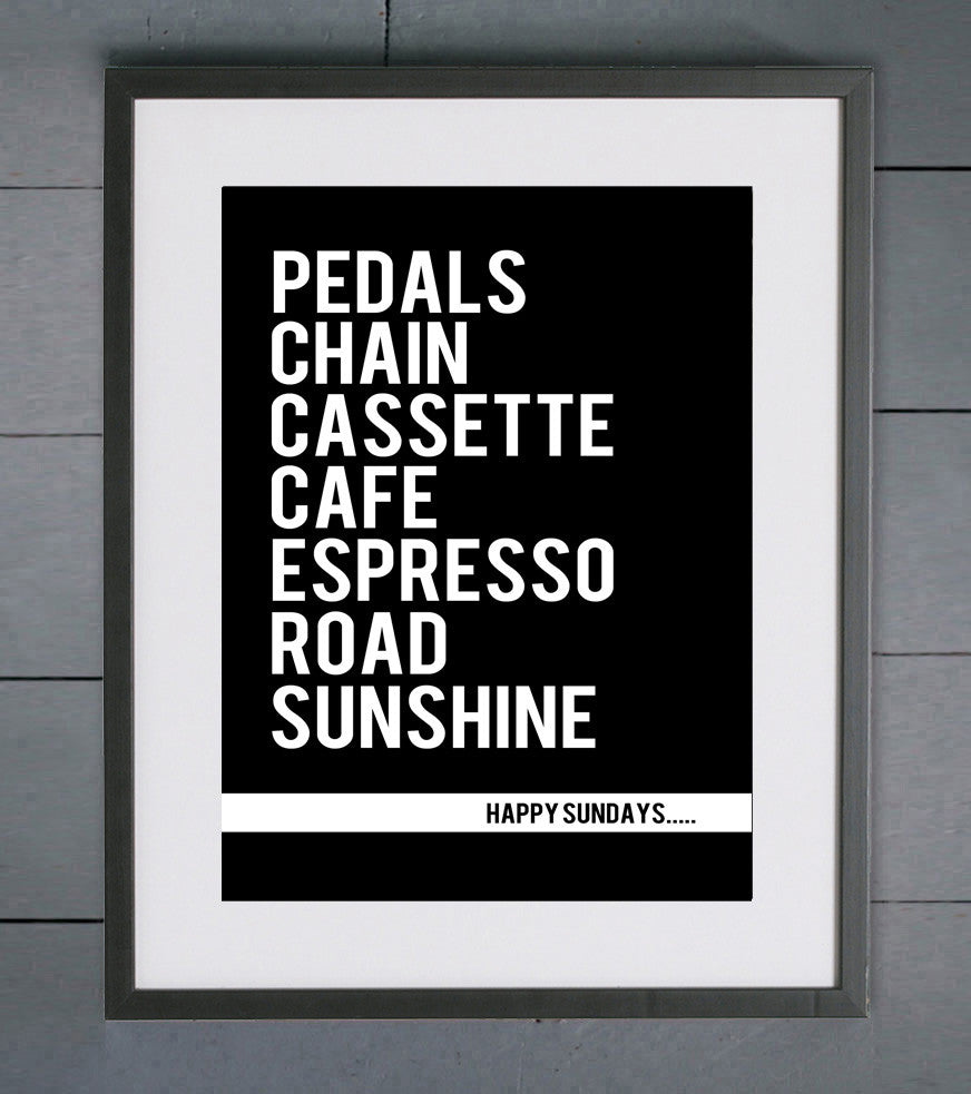 Happy Sundays Road Typography Cycling  Print