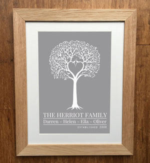 Love Birds Heart Family Tree Print