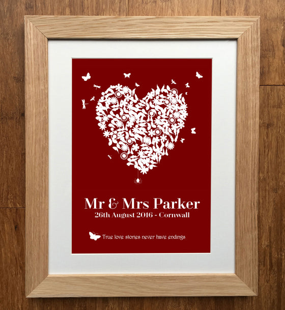 Heart Personalised Wedding Print