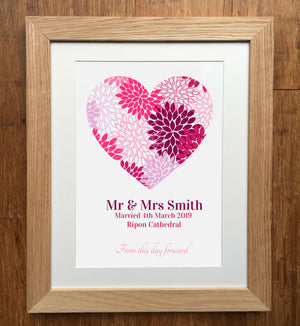 Petal Heart Personalised Wedding Print