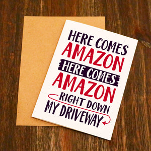 Here Comes Amazon Funny Christmas Card