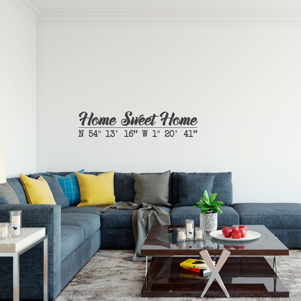 Home Sweet Home Personalised Coordinates Vinyl Wall Art