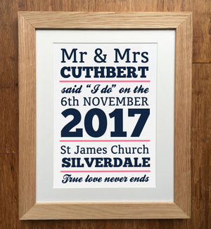 """I Do"" Personalised Wedding Print"