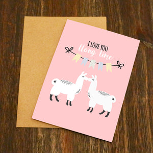 Love You Long Time Llama Valentine's Card